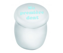 "Silver Gift Blue Enamel ""Ma premiere dent"" My First Tooth In French Tooth Fairy Box"