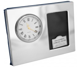 Silver Gift Clock With Single Photo Frame