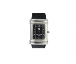 Silver Gift His/Hers Silver Watch With Large Onyx Dial Roman Numerals And Black Leather Strap