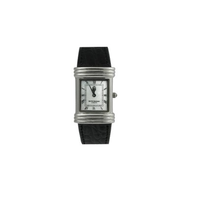 Silver Gift His/Hers Silver Watch With Medium Mother Of Pearl Dial Roman Numerals And Black Leather Strap