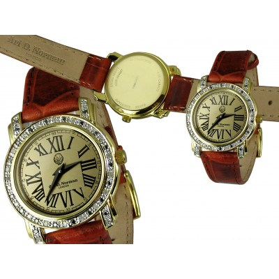 Silver Gift Round Dial Roman Numerals Gold Plated With Black And White Diamonds Watch And Brown Leather Strap