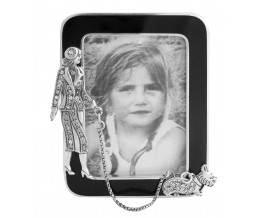 Silver Gift Art Deco Photograph Frame With Black Enamel And Swarovski Crystal