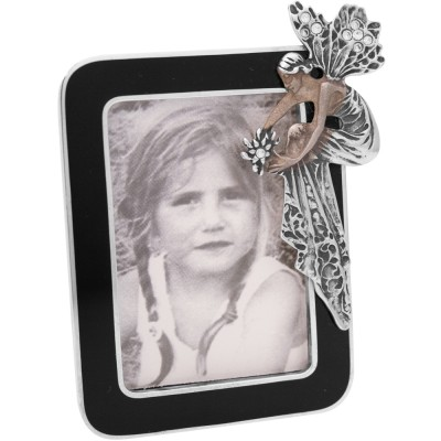 Silver Gift Art Nouveau Photograph Frame With Black Enamel And Swarovski Crystal