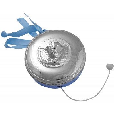 Silver Gift Blue Ribbon Cot Music Box