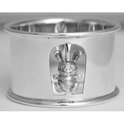 Silver Gift Napkin Ring With Rabbit