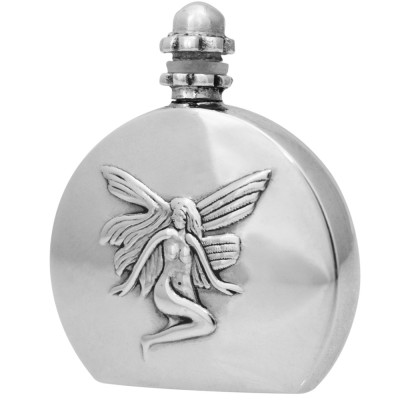 Silver Gift Perfume Bottle With Embossed Fairy