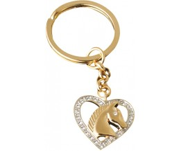 Gold Plated Horse Head In Heart Keyring