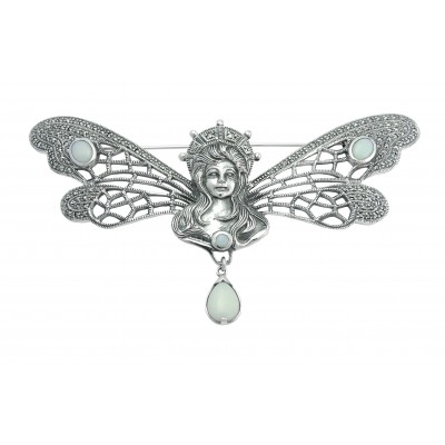 Silver Brooch Art Nouveau Based On Lalique Design Fairy Wings Encrusted Marcasite Opals In Wing Circles Opal On Chest And Dangling Opal Silver