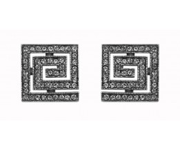 Silver Earrings Art Deco Swarovski Crystals Square Studs