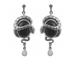 Silver Earrings Art Nouveau Snake Design Inspired By Lalique