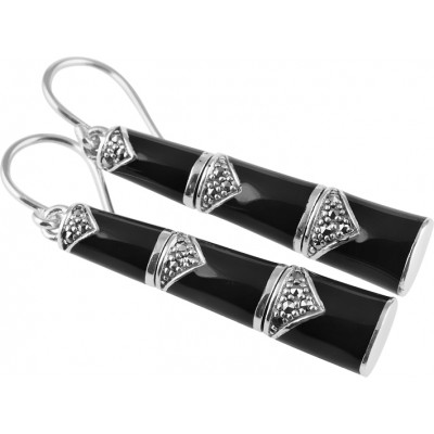 Silver Earrings Black Enamel And Marcasite Bamboo Style French Wire