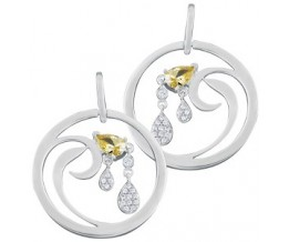 Silver Earrings Cubic Zirconia Set Drop French Wire