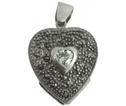Silver Locket Victorian Style Heart