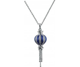 Silver Necklace Blue Enamel And Marcasite Pendant On Chain