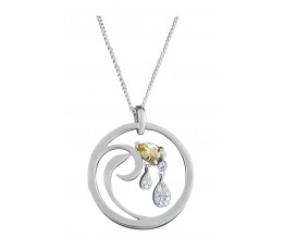 Silver Necklace Citrine And Cubic Zirconia Set Pendant & Chain