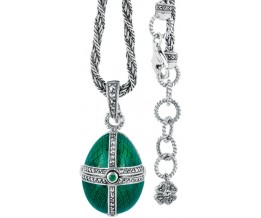 Silver Necklace Green Enamel And Marcasite Egg Shaped Pendant