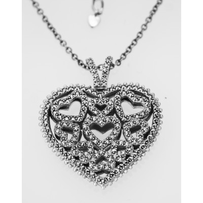 Silver Necklace Heart Shaped Pendant