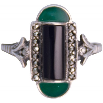 Silver Ring Marcasite Set With Black Onyx And Green Agate