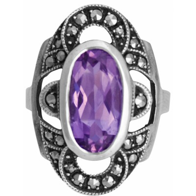 Silver Ring Set With Marcasite And Amethyst