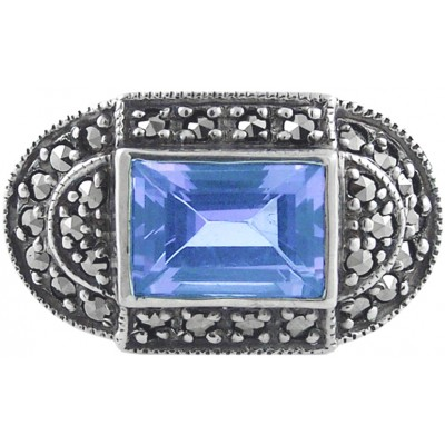 Silver Ring Set With Marcasite And Synthetic Aquamarine