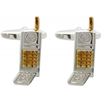 'FLIP' MOBILE PHONE WITH TORPEDO FASTENER CUFFLINKS 925 STERLING SILVER AND GOLD PLATE DETAIL