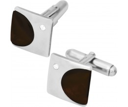SQUARE TIGER EYE AND CZ STERLING SILVER CUFFLINKS WITH TORPEDO FASTENER