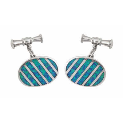 OVAL STERLING SILVER CUFFLINKS WITH CRUSHED BLUE OPAL RESIN TOGGLE FASTENERS
