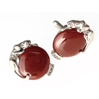 HALLMARKED STERLING SILVER PANTHER RED AGATE SET WITH MARCASITE.