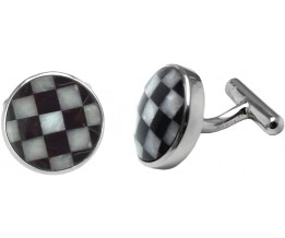 CHEQUERBOARD BLACK AND WHITE ONYX AND MOTHER OF PEARL ROUND CUFFLINKS