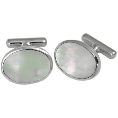 OVAL SHAPED MOTHER OF PEARL CUFFLINKS STERLING SILVER WITH FIXED POSTINGS
