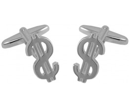 STERLING SILVER 'DOLLAR' SIGN CUFFLINKS WITH TORPEDO FASTENER