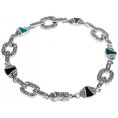 Sterling Silver Art Deco Style Bracelet Set With Marcasite Onyx And Green Agate