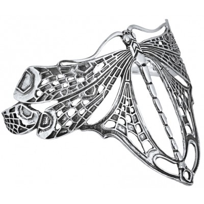 Classic Art Nouveau Sterling Silver Dragonfly Adjustable Bangle Cuff