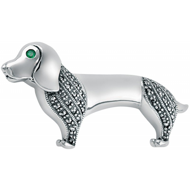 Art Deco Sterling Silver Daschund Dog Brooch Pin With Marcasite And Emerald