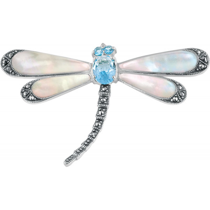 Art Nouveau Sterling Silver Dragonfly Brooch Pin With Mother Of Pearl Wings Set With Marcasite And Blue Topaz