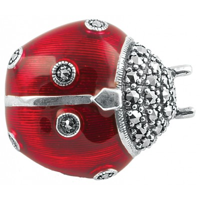 Red Art Nouveau Ladybird Sterling Silver Brooch Pin With Marcasite And Hand Painted Enamel