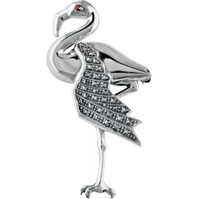 Sterling Silver Art Deco Flamingo Brooch Pin With Garnet And Marcasite