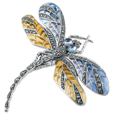 Sterling-Silver-Art-Nouveau-Dragonfly-Brooch-Pin-Marcasite-Set-With-Blue-Yellow-Enamel-Wings-And-Blue-Topaz-Eyes