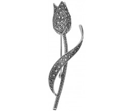 Art Nouveau Marcasite Tulip Flower Brooch Pin In Sterling Silver
