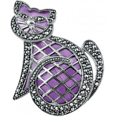 Art Nouveau Purple Pussy Cat Brooch Pin In Marcasite Set Sterling Silver With Translucent Hand Painted Enamel Detail