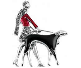 Ertes Afghan Hound Inspired Art Deco Lady And Dog Brooch Pin In Marcasite Set Sterling Silver With Hand Painted Red And Black Enamel
