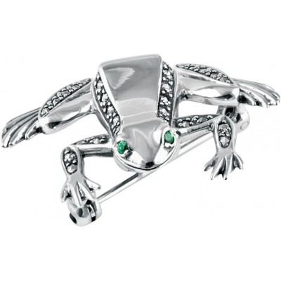 Sterling Silver .925 Art Deco Frog Brooch Pin With Marcasite And Emeralds