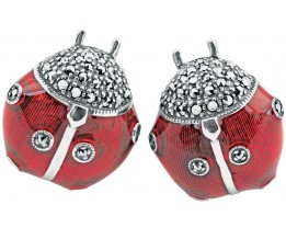 Sterling Silver Enamel And Marcasite Set Ladybird Cufflinks