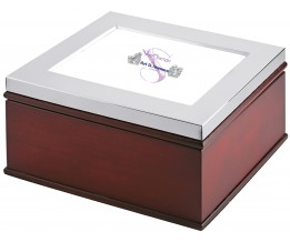 Wooden Photo Frame Box with Sterling Silver Lid