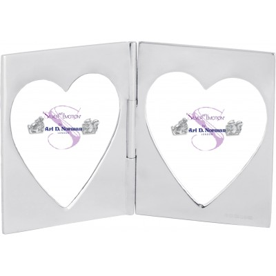 Double Heart Miniature Folding Travel Photo Frame Sterling Silver