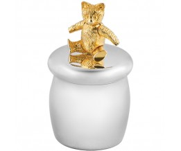 Tooth Fairy Box With Gold Plated Moving Teddy Bear Sterling Silver