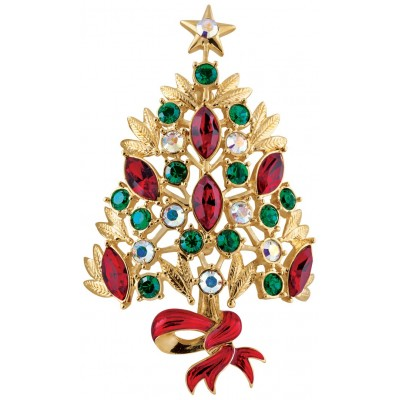 Gold Plated Crystal Christmas Tree Brooch