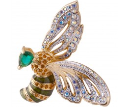 Gold Plated Bee Brooch With Austrian Crystals