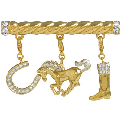 Gold Plated Equestrian Charm Brooch