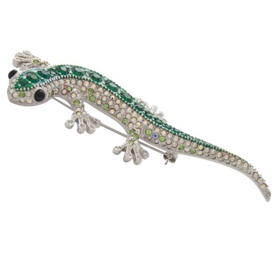 Art Deco Gecko Lizard Brooch Pin With Dazzling Green And Sparkling White Austrian Crystals